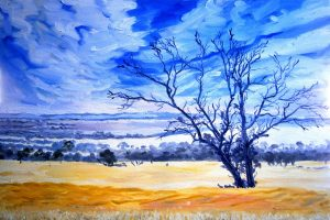 Backboun oil painting of the wheatbelt