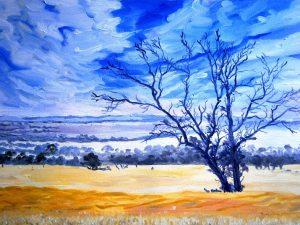 Backboun oil painting of the wheatbelt