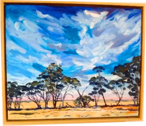 Art original oil painting FRIENDS a wheatbelt landscape of a line of Malley trees leaning on each other set in the Western Australian Wheatbelt near Merredin an original oil painting by Brian Carew-Hopkins on VooGlue