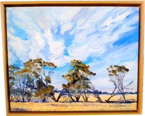 Art original oil painting TRUE FRIENDS a wheatbelt landscape of a line of Malley trees leaning on each other set in the Western Australian Wheatbelt near Merredin an original oil painting by Brian Carew-Hopkins on VooGlue