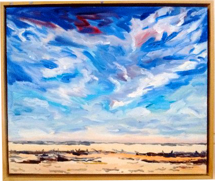 Art original oil painting SCORCED EARTH a wheatbelt landscape of recently cleared paddock with tortured sky set in the Western Australian Wheatbelt near Merredin an original oil painting by Brian Carew-Hopkins on VooGlue