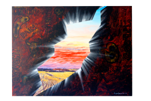 Art original oil painting A CRACK IN THE BLINDSPOT a wheatbelt landscape of red sunset over farm land cracking through the painful landscape of inside a head, sliced loaf video art set in the Western Australian Wheatbelt near Merredin an original oil painting by Brian Carew-Hopkins on VooGlue