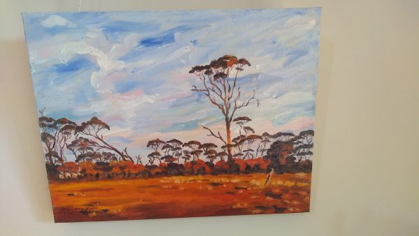 Front view of art original oil painting RAM PADDOCK AT SUNRISE a wheatbelt landscape of red sunrise reflecting off three stories of tree line set in the Western Australian Wheatbelt near Merredin an original oil painting by Brian Carew-Hopkins on VooGlue