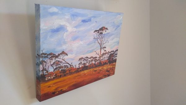 Left view of art original oil painting RAM PADDOCK AT SUNRISE a wheatbelt landscape of red sunrise reflecting off three stories of tree line set in the Western Australian Wheatbelt near Merredin an original oil painting by Brian Carew-Hopkins on VooGlue