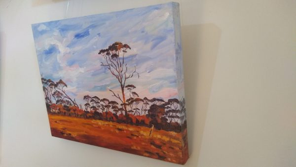 Right view of art original oil painting RAM PADDOCK AT SUNRISE a wheatbelt landscape of red sunrise reflecting off three stories of tree line set in the Western Australian Wheatbelt near Merredin an original oil painting by Brian Carew-Hopkins on VooGlue