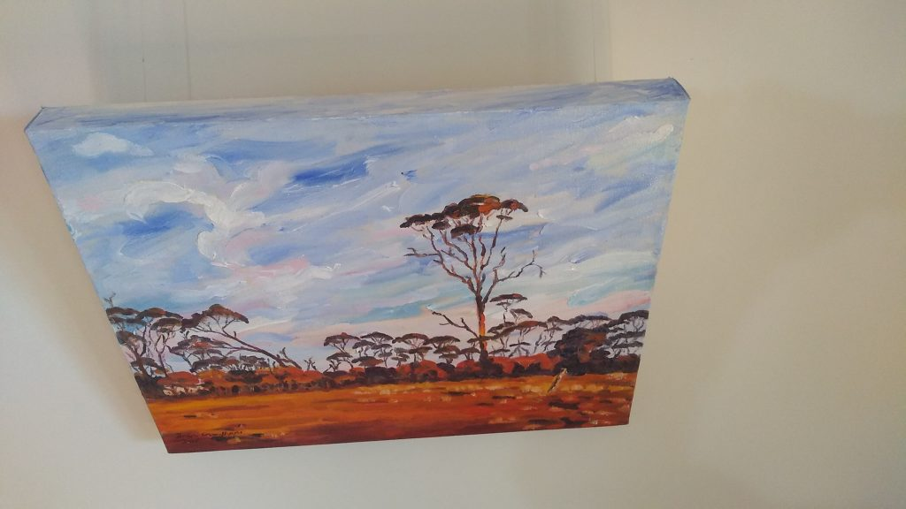 Top view of art original oil painting RAM PADDOCK AT SUNRISE a wheatbelt landscape of red sunrise reflecting off three stories of tree line set in the Western Australian Wheatbelt near Merredin an original oil painting by Brian Carew-Hopkins on VooGlue