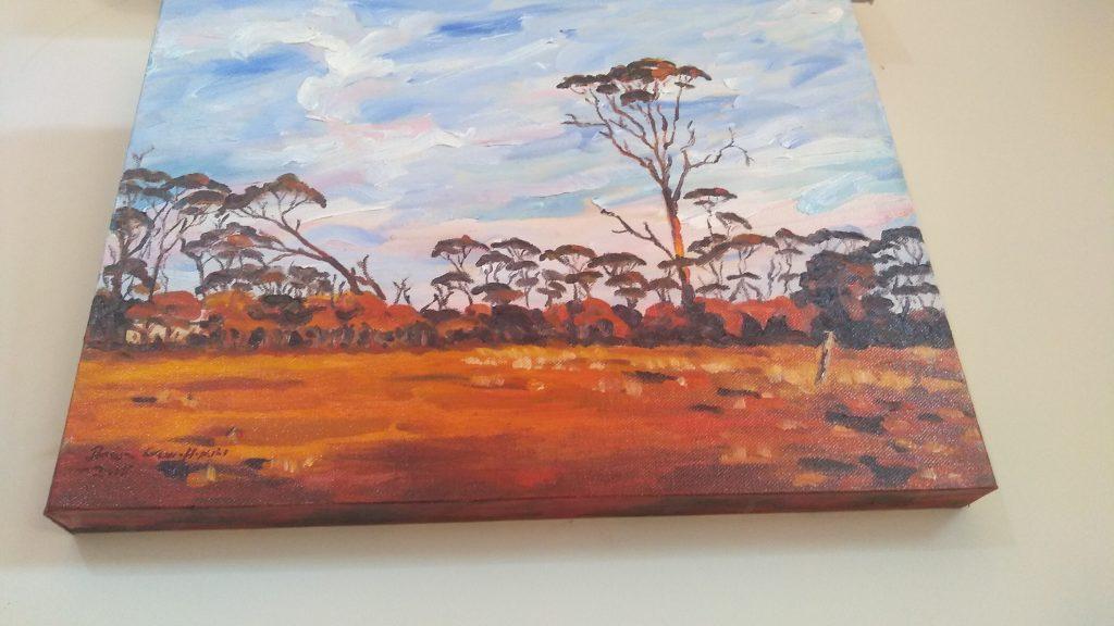 Bottom view of art original oil painting RAM PADDOCK AT SUNRISE a wheatbelt landscape of red sunrise reflecting off three stories of tree line set in the Western Australian Wheatbelt near Merredin an original oil painting by Brian Carew-Hopkins on VooGlue