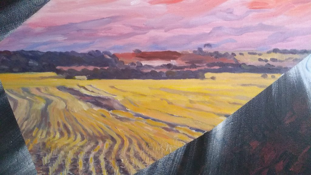 Close up voew of art original oil painting A CRACK IN THE BLINDSPOT a wheatbelt landscape of red sunset over farm land cracking through the painful landscape of inside a head, sliced loaf video art set in the Western Australian Wheatbelt near Merredin an original oil painting by Brian Carew-Hopkins on VooGlue