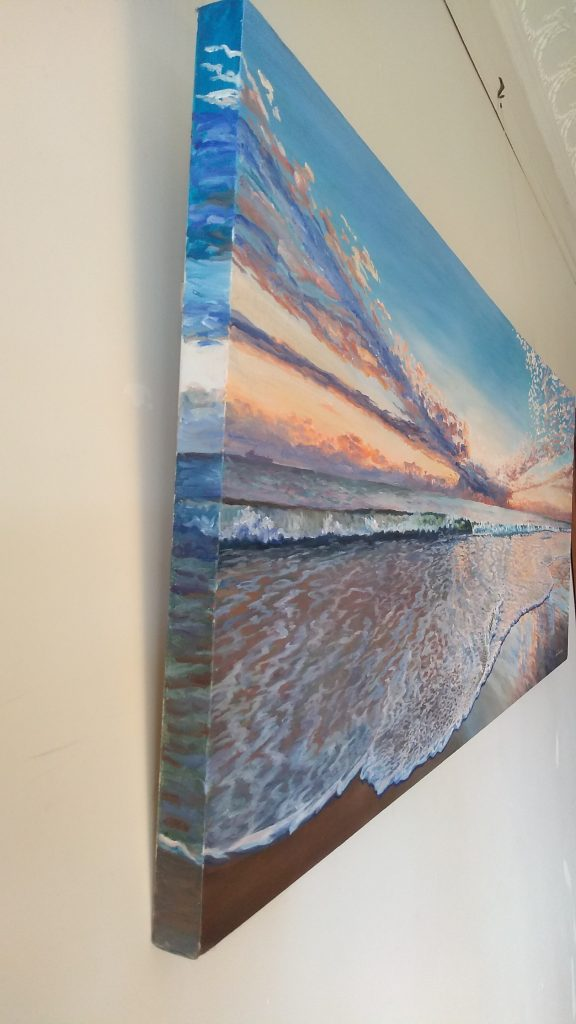 Left end view of art original oil painting Cottesloe Sunset, seascape of Cottesloe beach in Western Australia looking out to the ocean with reflections of sunset in the foam wash, set on the Western Australian Perth Cottesloe beach at sunset, an original oil painting by Brian Carew-Hopkins on VooGlue