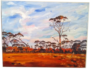 Art original oil painting RAM PADDOCK AT SUNRISE a wheatbelt landscape of red sunrise reflecting off three stories of tree line set in the Western Australian Wheatbelt near Merredin an original oil painting by Brian Carew-Hopkins on VooGlue